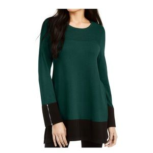 Alfani sweater emerald black ottoman knit